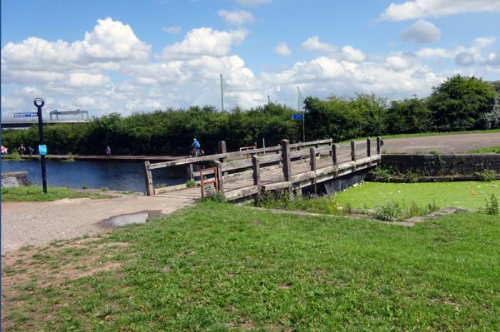 The old wooden swing-bridge on the Sankey Canal due to be replaced by 2021